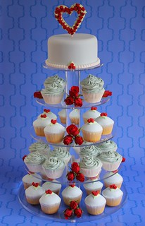 Red Rose Wedding Cupcake Tower