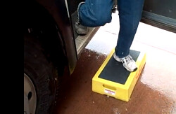 Bus Step Stool in the Snow