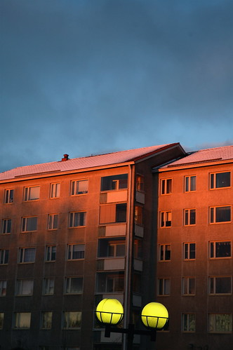 blue winter sunset sky sunlight snow building finland dusk pori lpfacades