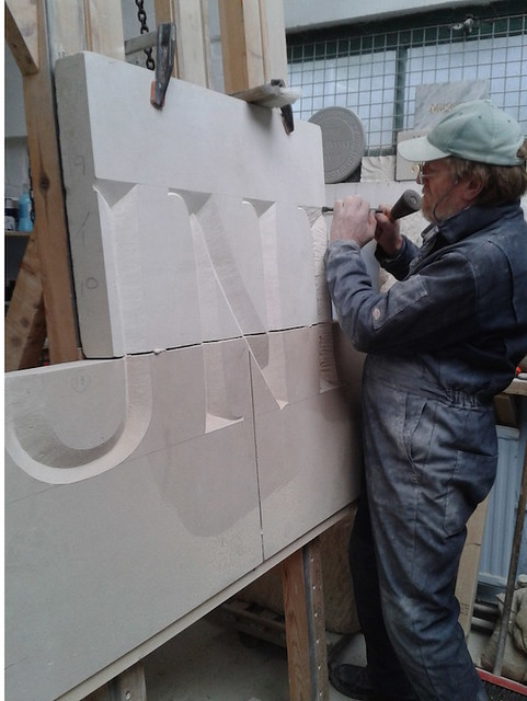 Carving 500mm high letters. Portland stone.