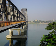 Steel bridge over the river in Mandalay, Myanmar