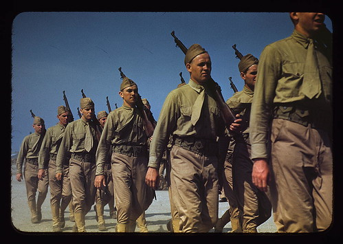 Marines finishing training at Parris Island, S.C.  (LOC)