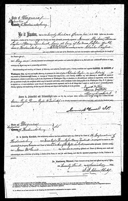 Peyton Revolutionary War Pension File