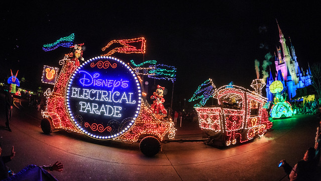 Disney's Electrical Parade Heading Towards the Castle
