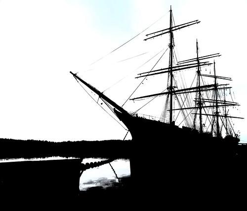 bw silhouette tallship Åland barque pommern aland fourmastedbarque