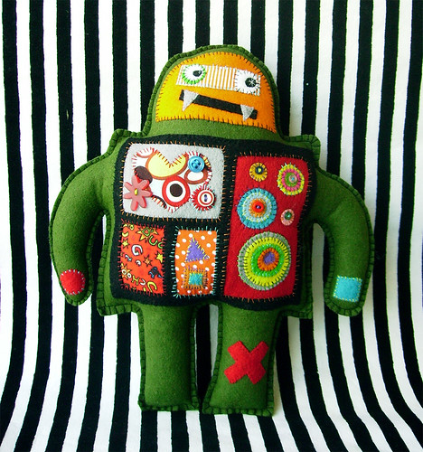 Olive Green Robot Plush Toy