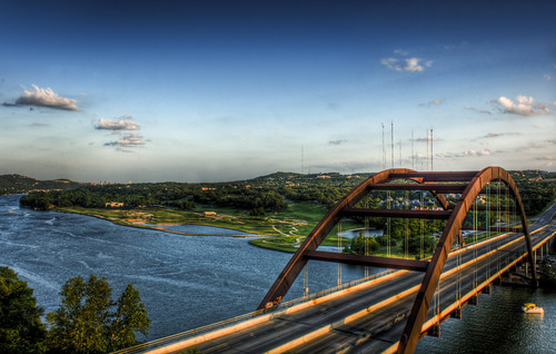 bridge sunset sky usa water metal architecture clouds austin golf landscape boat highway texas sony scenic 360 course hdr lightroom lakeaustin pennybacker a700 imagekindfrontpage