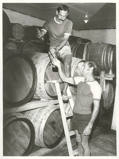 Cabernet Sauvignon maturing in oaken casks in the Babich brothers cellars at Henderson. Joe (above) and Peter Babich take a sample for testing