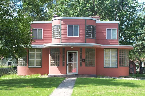 Pink modernist house