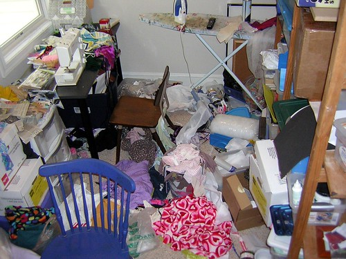 Sewing Room Messy, by sewyerown on Flickr.