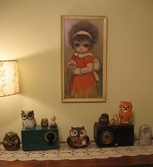Ozz Franca Sad Eyed Girl - Vintage Print... & owl figurines
