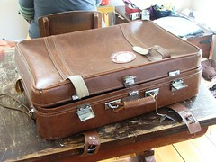 bag, furniture, brown, leather, baggage, suitcase,