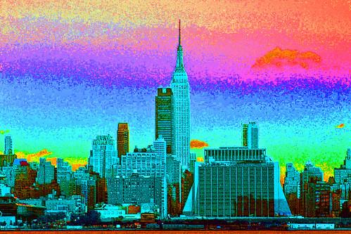 New York City Skyline Rainbow