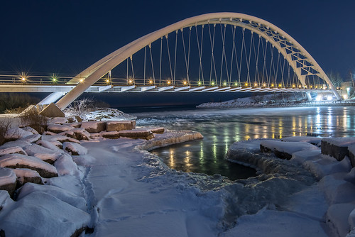 Humber Bay Arch Bridge after dark, Toronto Ontario