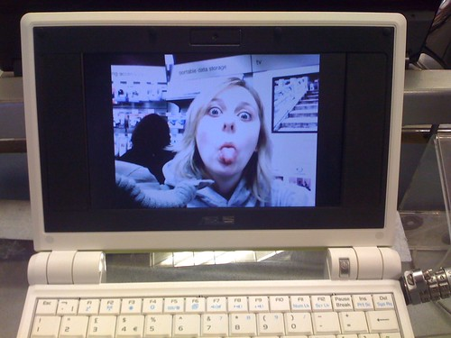 Self portrait on an eee pc at Dixons, Gatwick airport