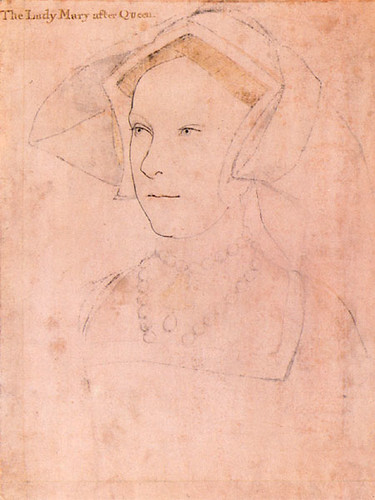 Holbein sketch, probably of Mary Tudor
