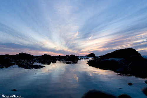 ocean blue sunset reflection beach silhouette rocks canonef2470mmf28lusm tidalpool westportma cirrusclouds skyhigh eos5d skylow distinguishedpictures gooseberryneck