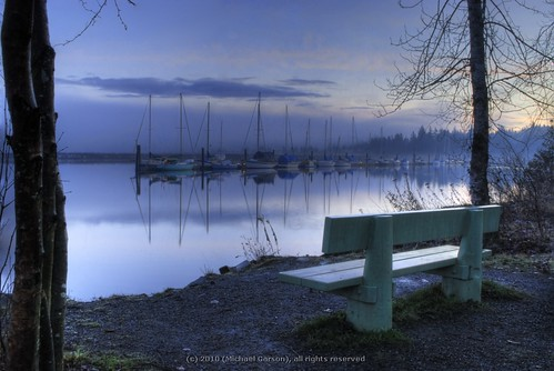ocean morning trees canada color colour reflection tree nature water fog clouds forest sunrise bench landscape boats boat nikon sailing sails hdr atmosphericperspective
