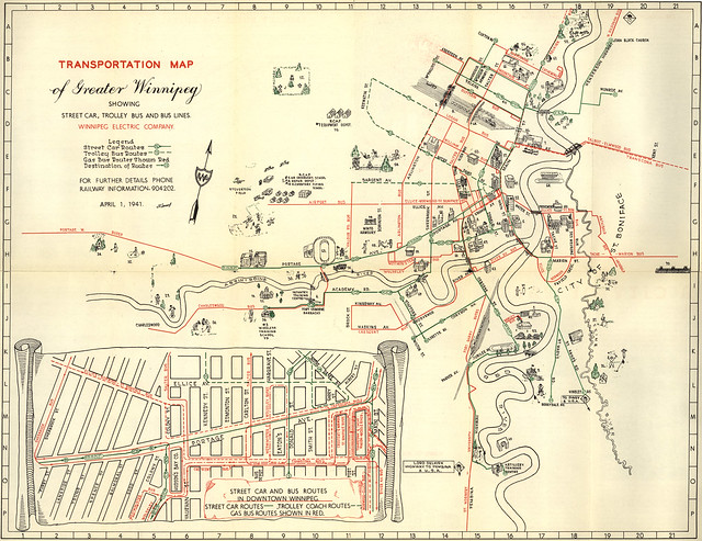 City Car Games >> Transportation Map of Greater Winnipeg Showing Street Car, Trolley Bus and Bus Lines (1941 ...