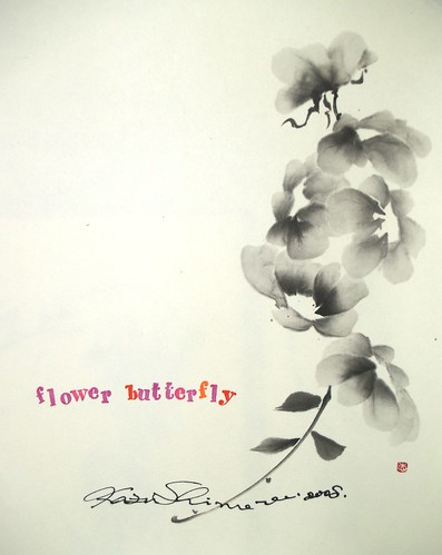 Sumi-e flower butterfly