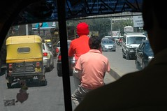 Traffic in Pink and Red, Bangalore, India