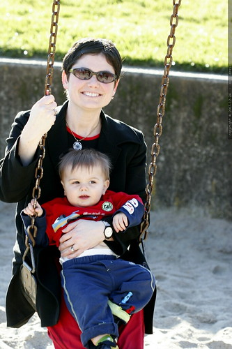 mother and son on the big kid swing    MG 7458