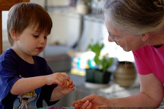 showing his grandma how to remove the stone from a r…