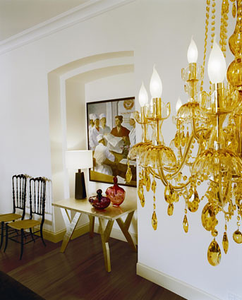 Nyree Collection Five Light Chandelier Yellow