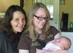 Holding baby Sarah