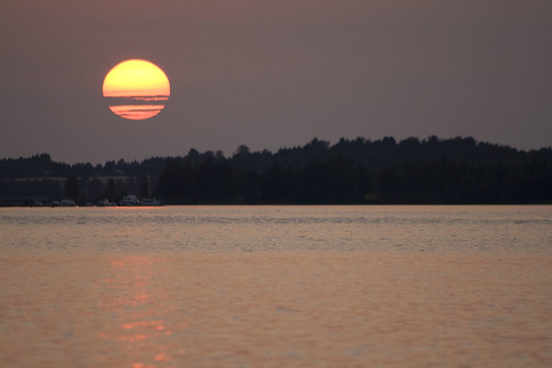 sunset lake finland saimaa