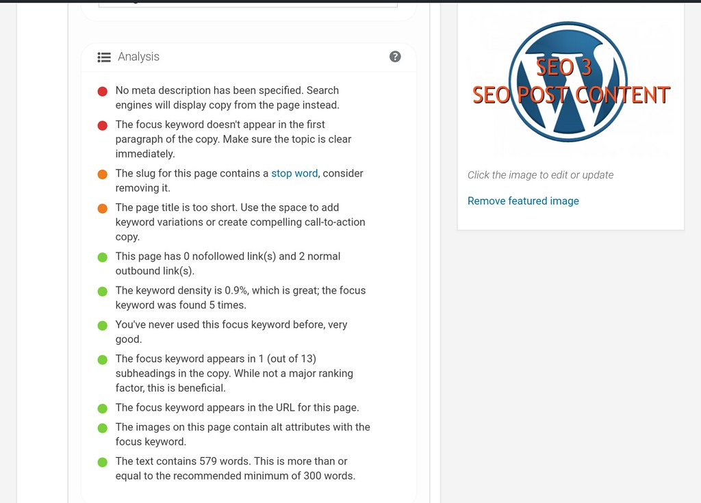 wordpress seo yoast content analysis