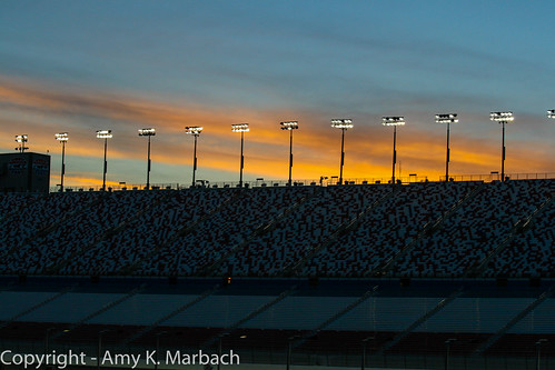 Sunset over the grandstands at Las Vegas Motor Speedway
