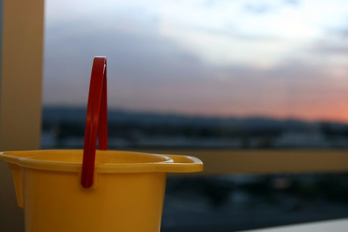 bucket at sunset