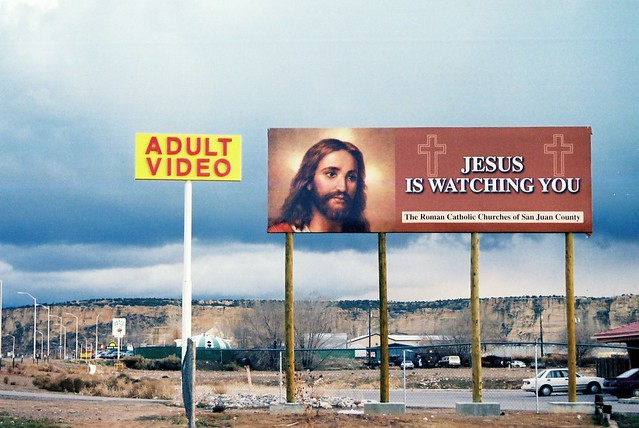 Billboard in the parking lot of an Adult Video Store in Farmington, ...