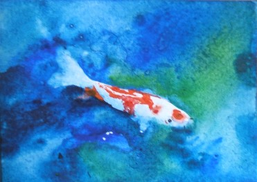 Blue water koi aceo a painting a day for Blue ribbon koi