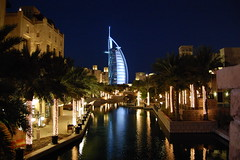 Souk Madinat and Burj Al Arab at night