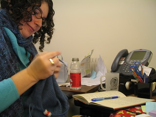 Knitting during a call