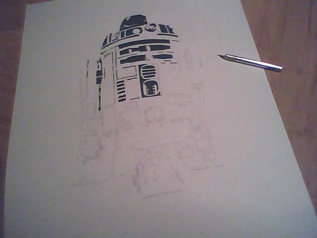 R2D2 stencil     still in  R2d2 Stencil