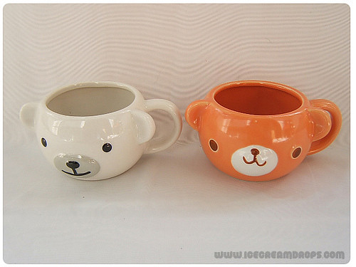 Animal face white polar bear orange bear porcelain mug cup for Animal face mugs