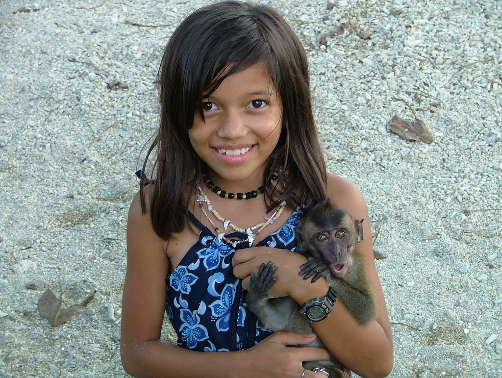 Visayan Filipina Girl With Monkey - A Photo On Flickriver-2084