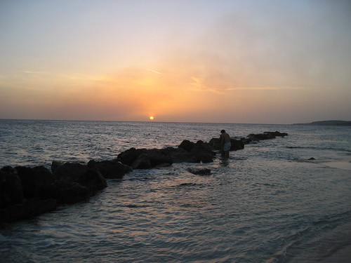 sunset vacation beach water view curacao