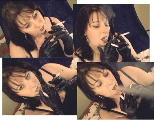 smoking fetish smoke sexy cigarette cigar leather gloves milf.