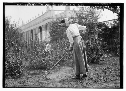 At work on Belmont girl farm  (LOC)