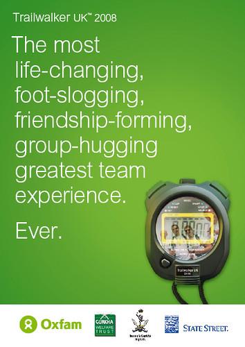 Oxfam's Trailwalker UK 2008 brochure