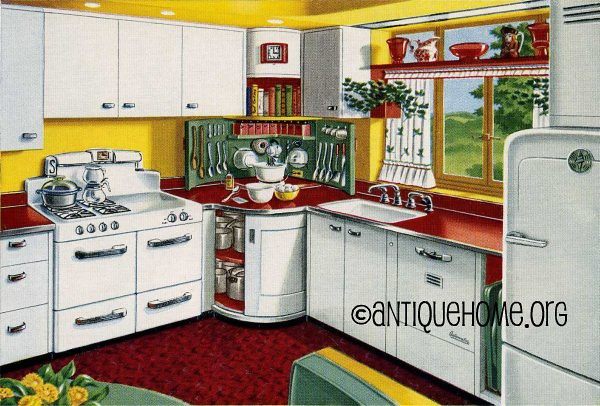 Mixing corner 1950s kitchen design in red and yellow for 1950s style kitchen cabinets