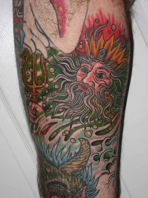 Poseidon - Tattoo on Upper Inner Thigh by Jason Brooks