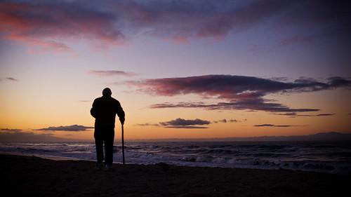 ocean old sunset man beach cane sunrise nikon pacific walk walkingstick aged d200 carpinteria octogenarian