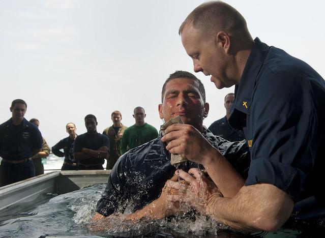 Navy chaplain baptizes Sailor aboard USS Carl Vinson