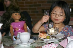 Olivia Enjoying Dessert at the American Girl Tea Party