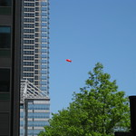 Blimp balloon over downtown Chicago